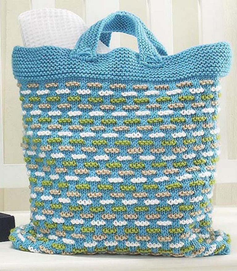 Free Knitting Pattern for Basket Weave Bag