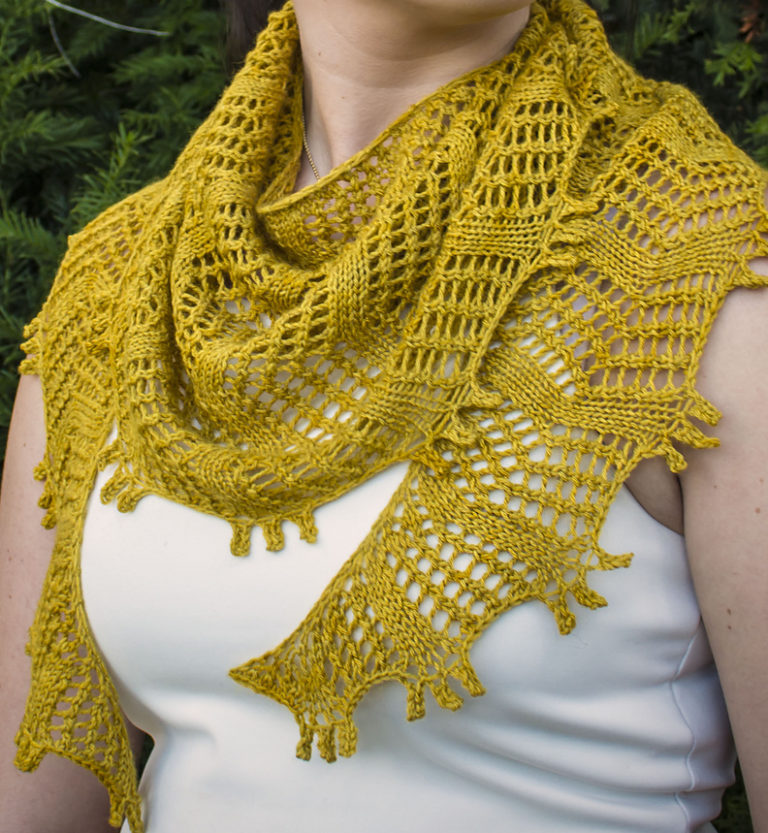 Free Knitting Pattern for Baskin Shawl