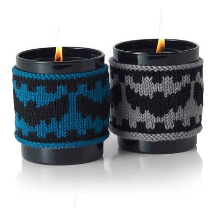Free Knitting Pattern for Bat Candle Cozies