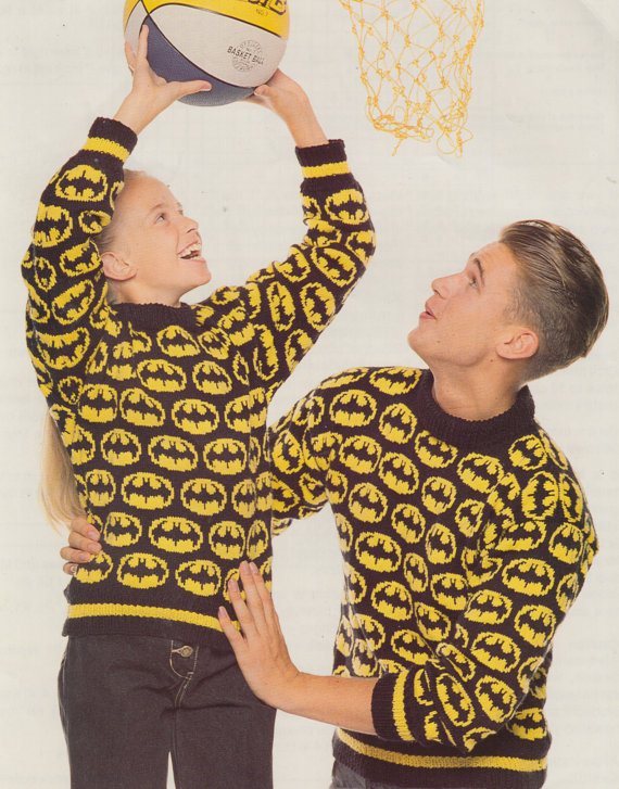 Knitting pattern for Bat Signal Sweater