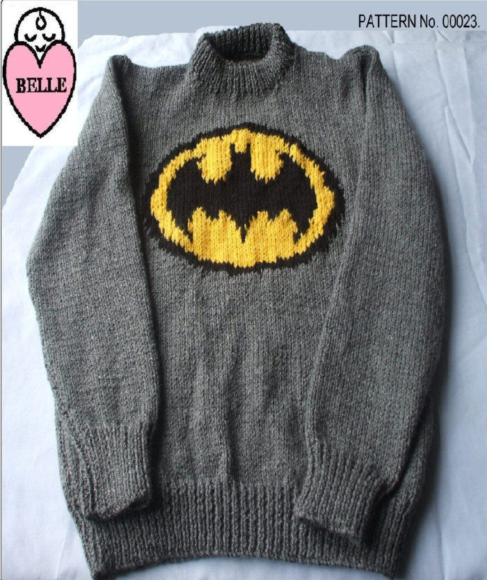 Knitting Pattern for Batman Sweater
