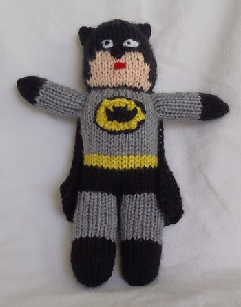 Free knitting pattern for Batman toy
