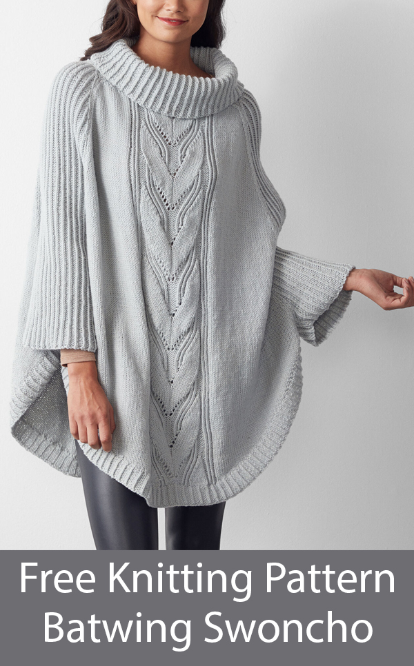 Free Knitting Pattern for Batwing Swoncho Poncho with Sleeves and Cables sizes XS to 5XL