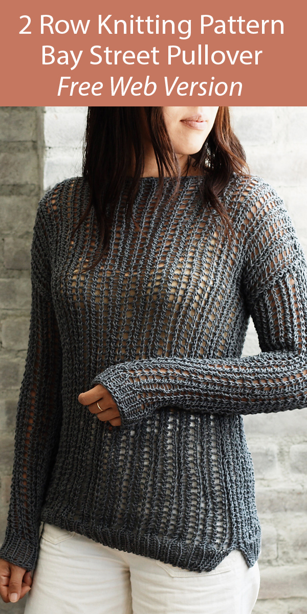 Free Knitting Pattern for 2 Row Repeat Bay Street Pullover Sweater