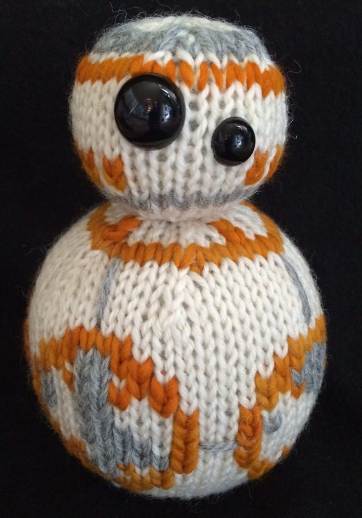 Free Knitting Pattern for BB-8 Toy inspired by Star Wars