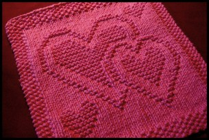 Be My Dishcloth multiple hearts free knitting pattern, also good for blanket squares, sweater motif, more. More free knitting patterns at www.terrymatz.biz/intheloop