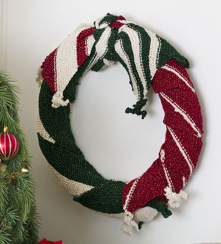 Free Knitting Pattern for Be-Scarfed Wreath
