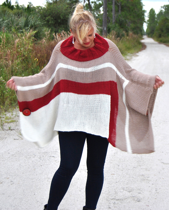 Free Knitting Pattern for Be So Brave Poncho