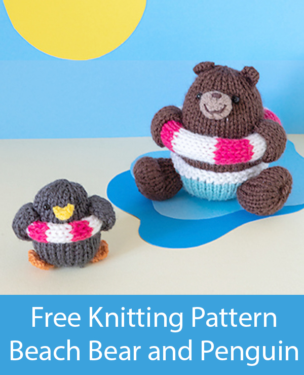 Free Knitting Pattern for Beach Bear and Penguin