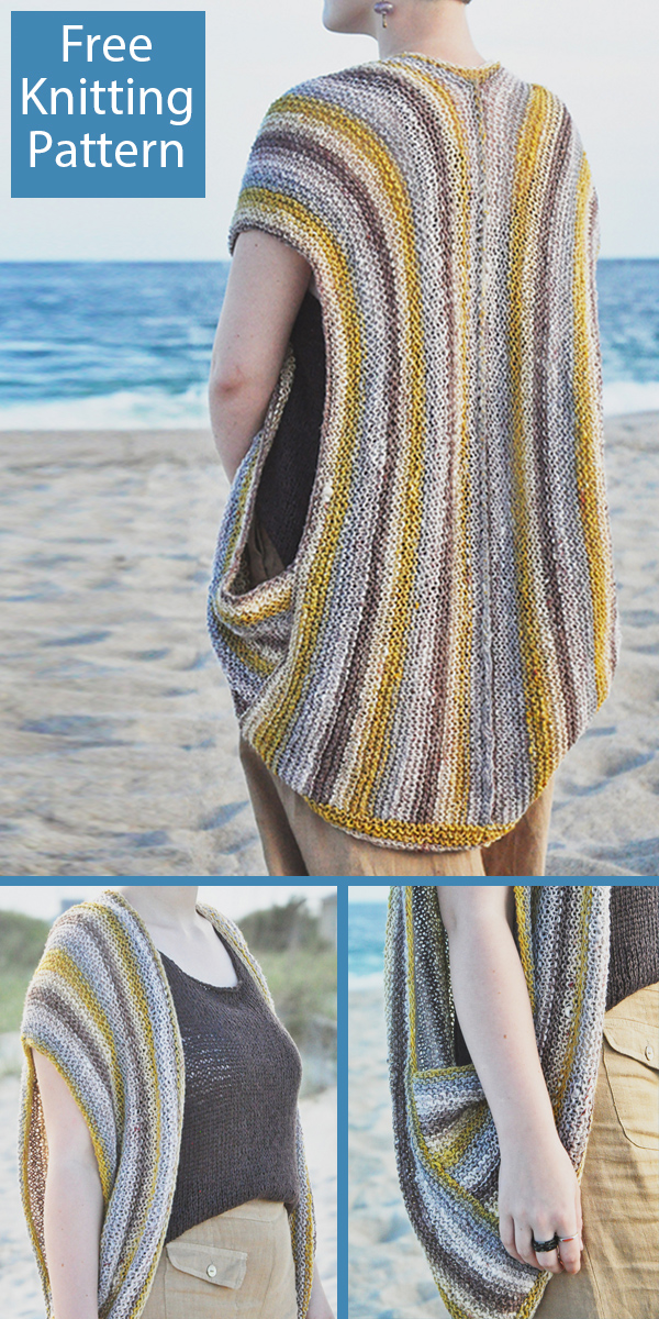 Free Knitting Pattern for Beachwalker Cocoon Vest