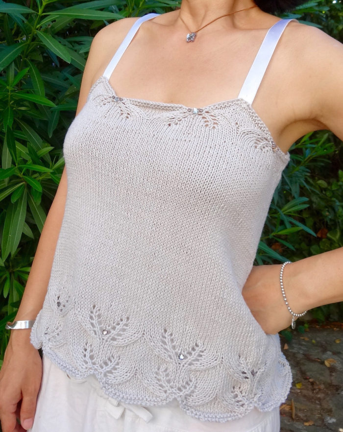 Free Knitting Pattern for Beaded Cami