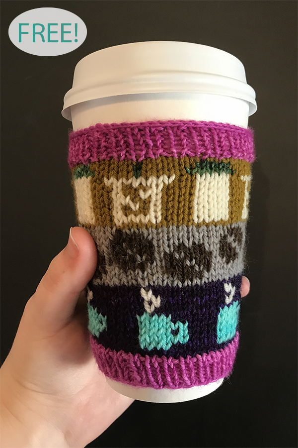 Free Knitting Pattern for Beans or Leaves Cup Cozy