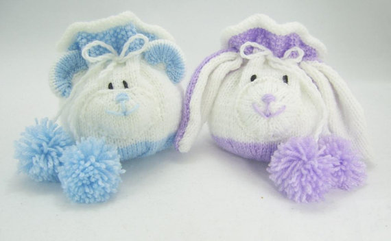 Knitting patterns for Bear and Rabbit Drawstring Gift Bags and more gift wrap knitting pattern