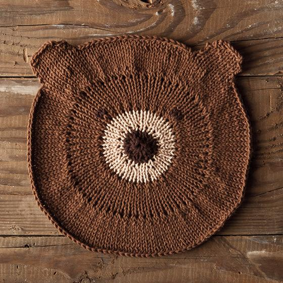 Free knitting pattern for Bear With Me Dishcloth