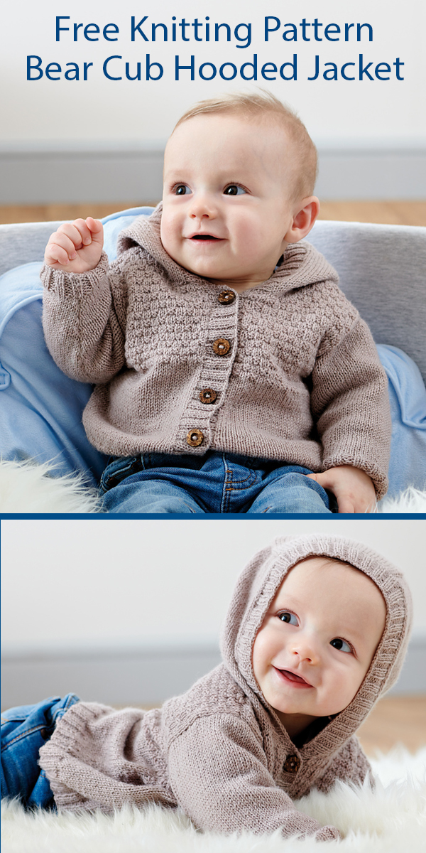 Free Knitting Pattern for Baby Bear Cub Hooded Jacket Sizes Newborn to 18 months