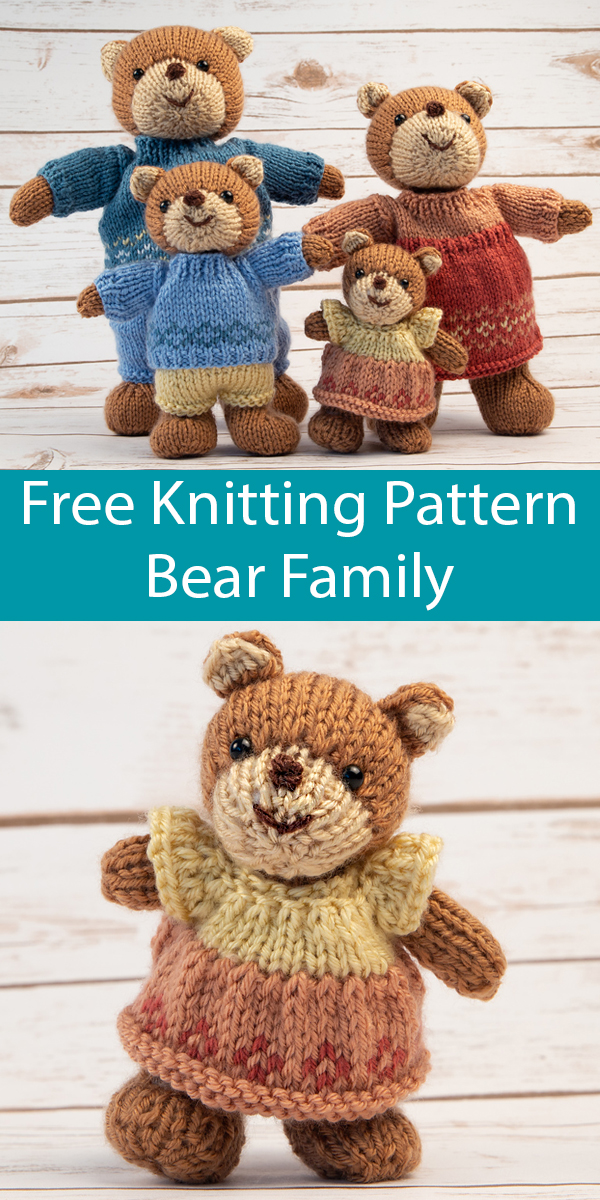 Free Knitting Pattern for Teddy Bear Family Softie Toys. $25 Kit Available