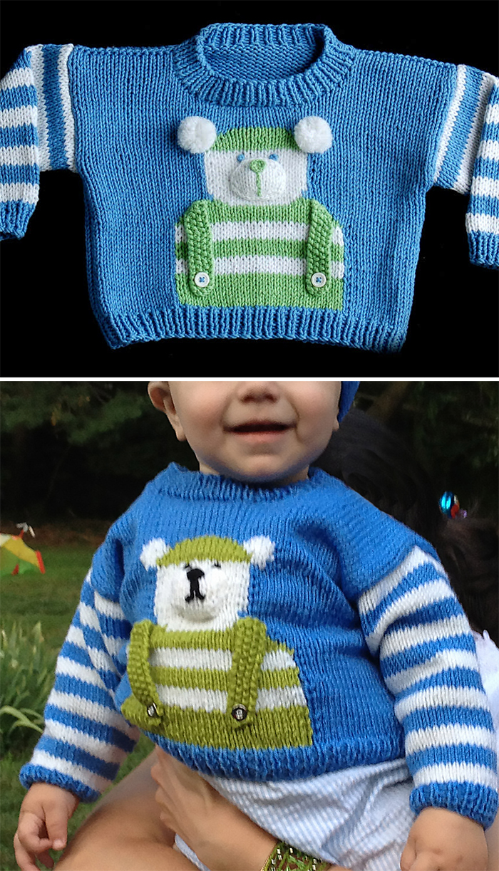 Free Knitting Pattern for Baby Bear Sweater