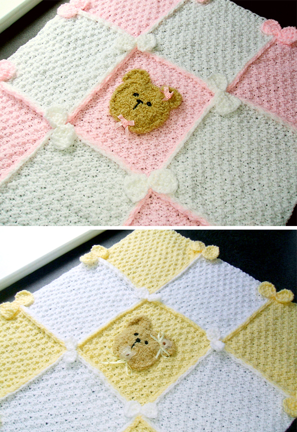 Knitting Pattern for Bears and Bows Baby Blanket