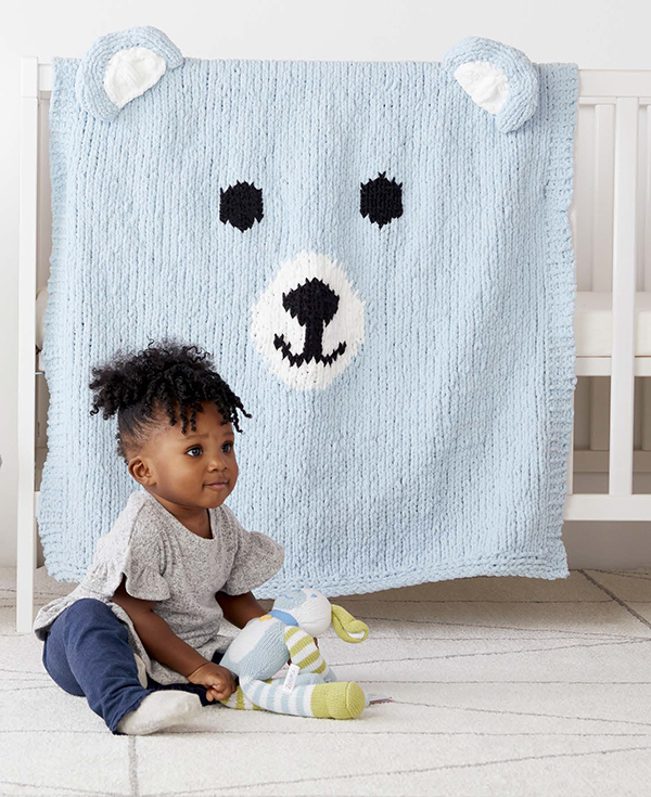 Free Knitting Pattern for Beary Cozy Baby Blanket