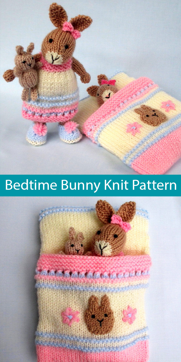 Knitting Pattern for Bedtime Bunny - 7.5in (18cm) - plus toy bunny and sleeping bag