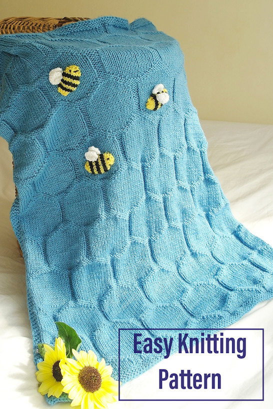 Knitting Pattern for Easy Bee and Honeycomb Baby Blanket