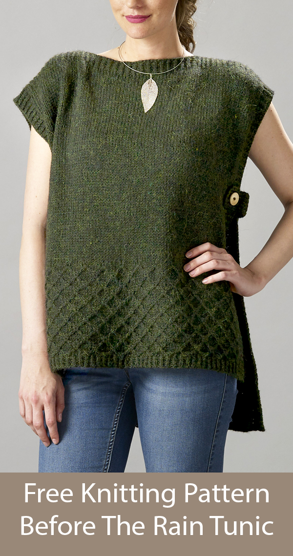 Free Knitting Pattern for Before The Rain Tunic Vest Poncho