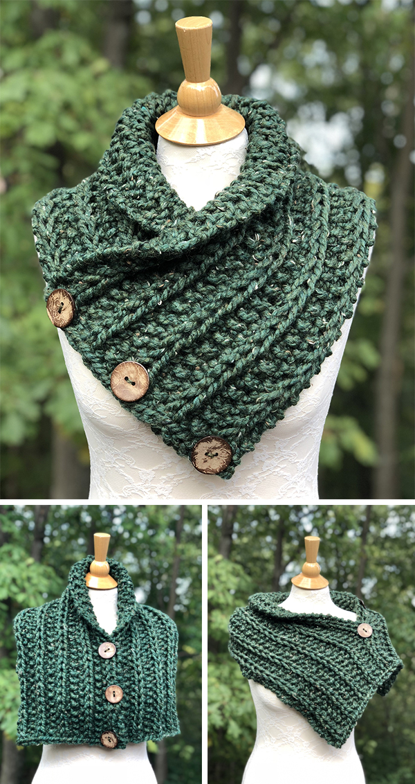 Knitting Pattern for Easy Convertible Rustic Neckwarmer, Shoulder Cozy, and Mini Poncho
