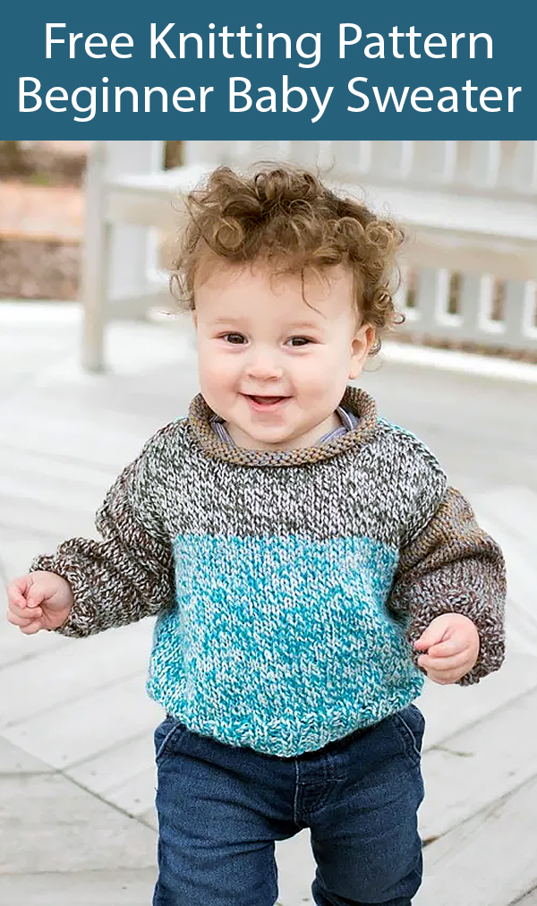 Free Knitting Pattern for Beginner Baby Sweater in One Skein