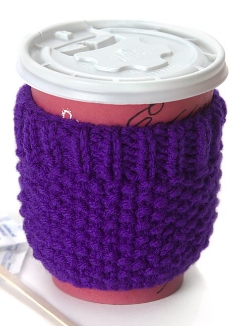 Free Knitting Pattern for Beginner Cup Cozy