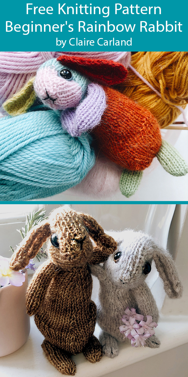 Free Knitting Pattern for Beginner's Rainbow Rabbit