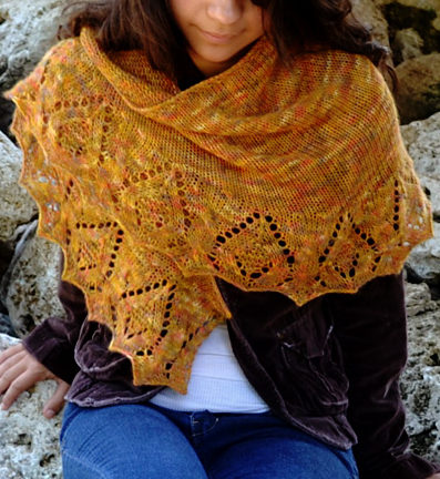 Free Knitting Pattern for One Skein Beithe Shawl