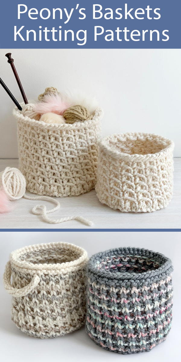 Knitting Patterns for Belmont Basket and Bowie Basket