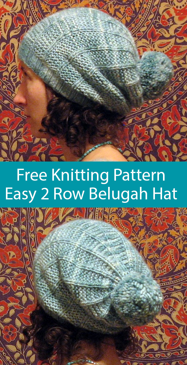 Free Knitting Pattern for Easy 2 Row Repeat Belugah Slouch Hat and Beanie