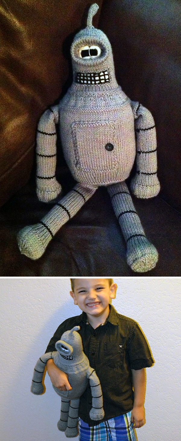 Free knitting pattern for Bender Robot Softie