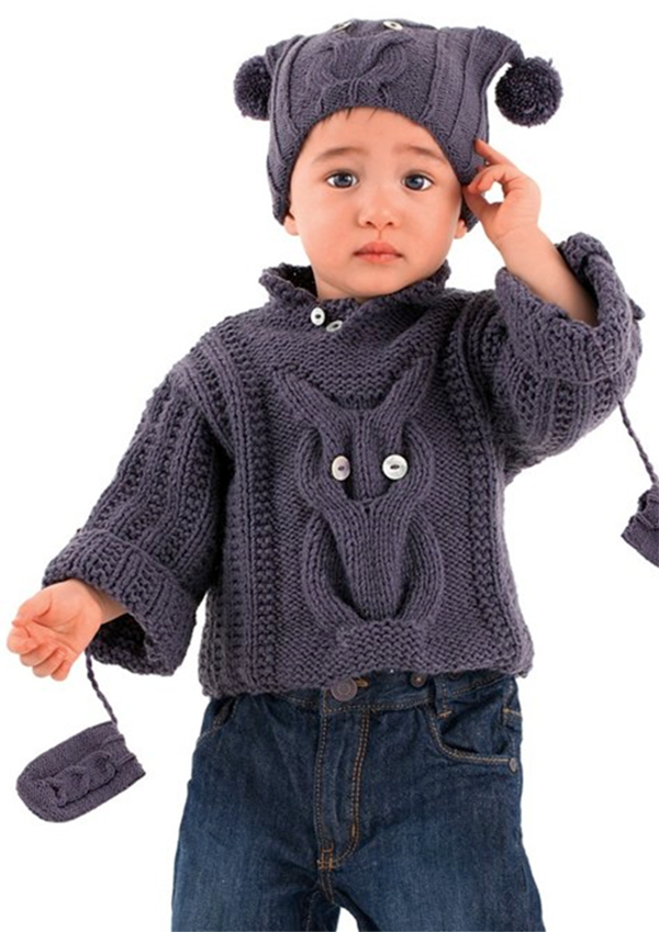 Free Knitting Pattern for Baby Owl Sweater, Hat and Mittens