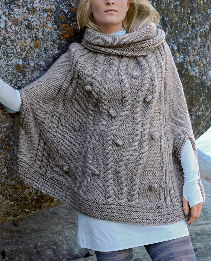 Free Knitting Pattern for Cabled Poncho