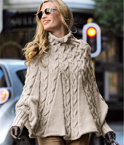 Knitting Pattern for Cable Poncho