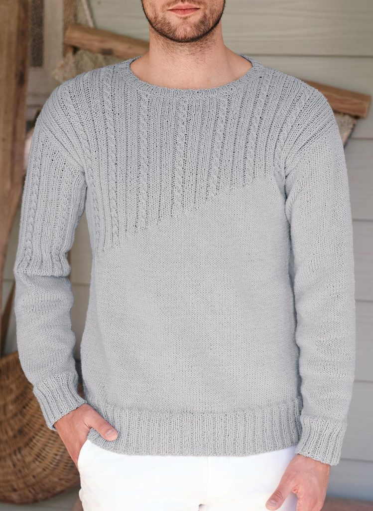 Knitting Pattern for Round Neck Sweater for Men