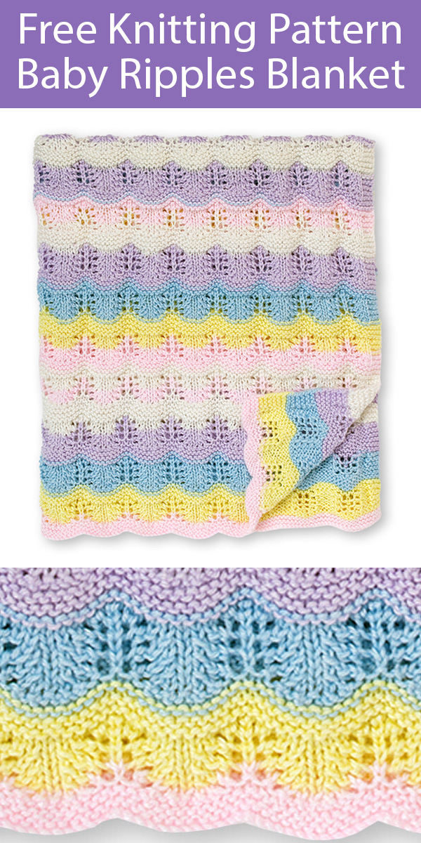 Free Knitting Pattern for Ripples Baby Blanket
