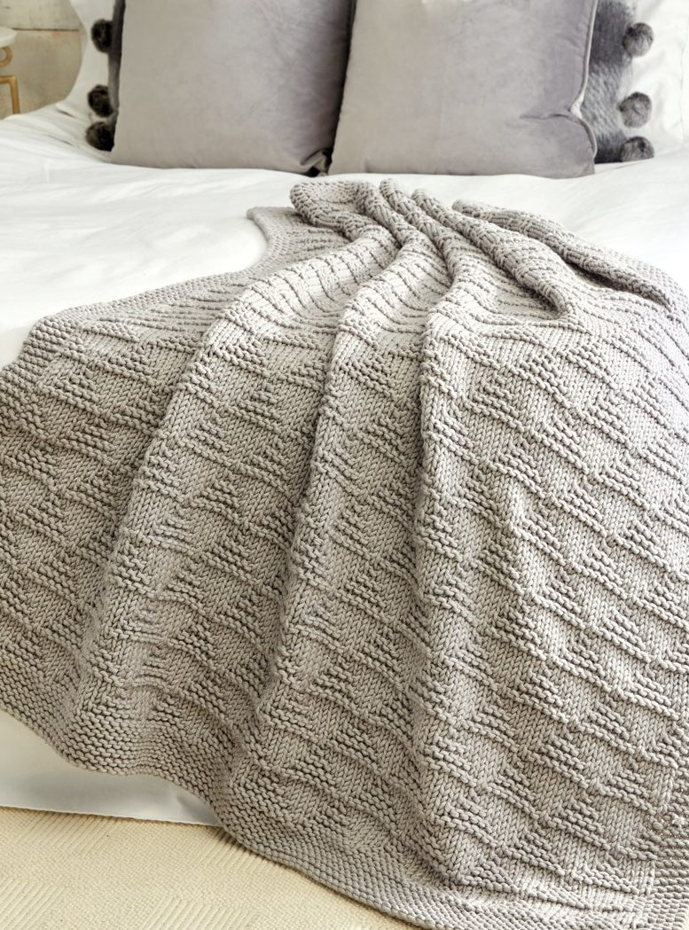 Free Knitting Pattern for Easy Cozy Triangle Throw