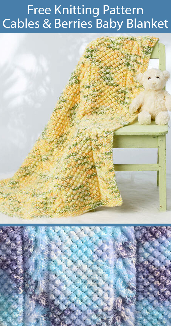 Free Knitting Pattern for Cables & Berries Baby Blanket