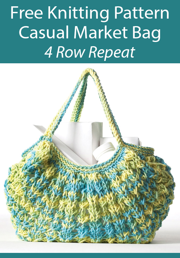Free Knitting Pattern for 4 Row Casual Market Bag