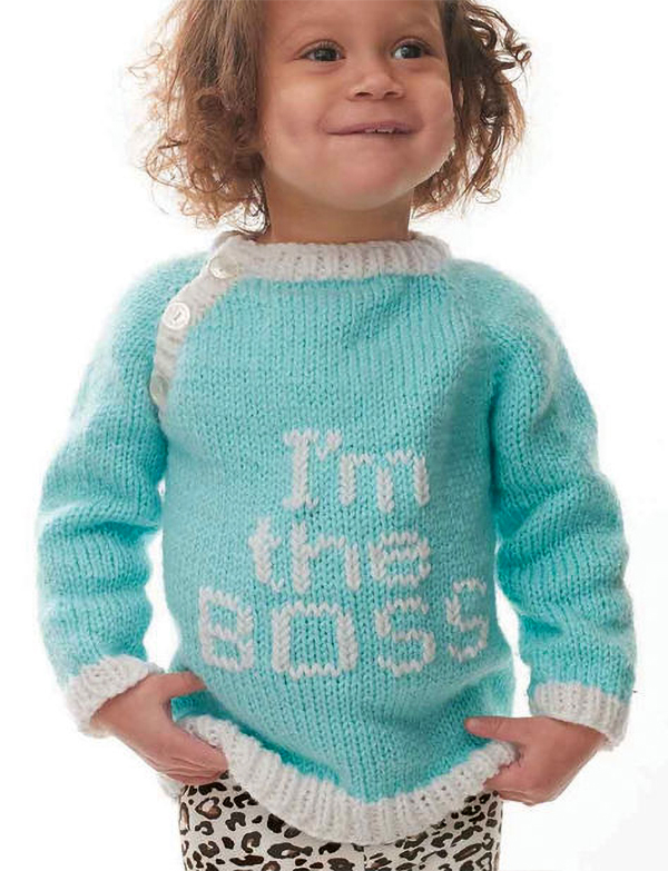 Free Knitting Pattern for I'm the Boss Sweater