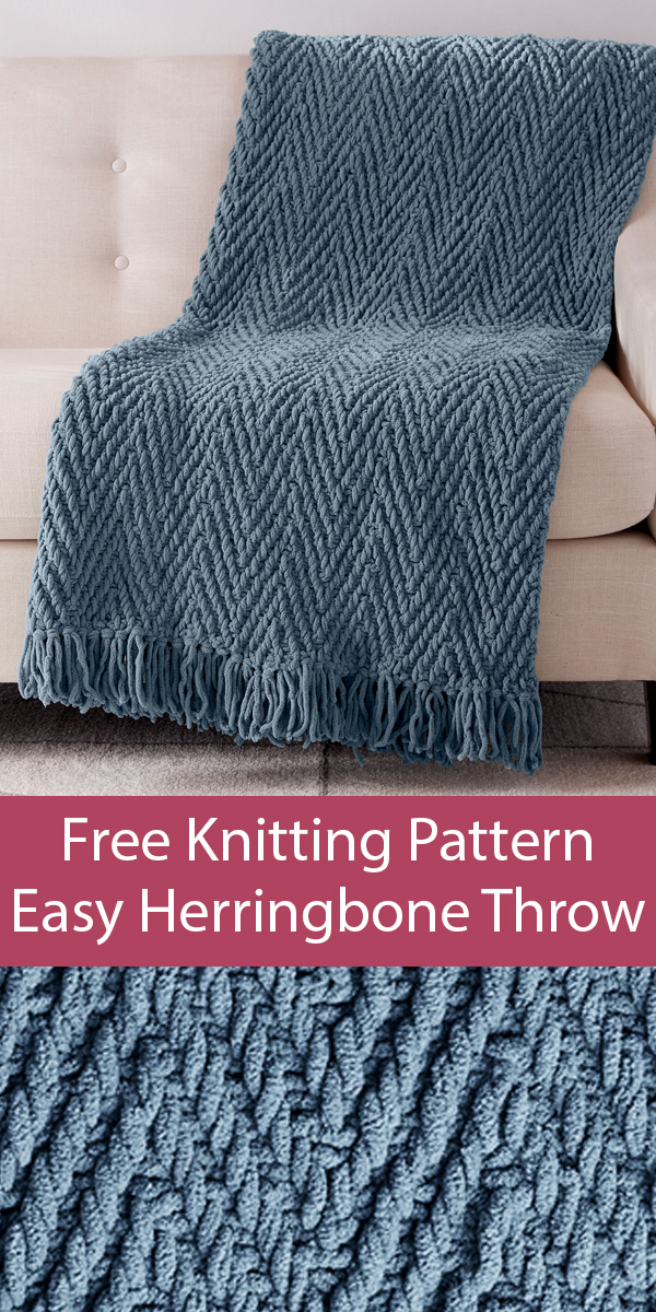 Free Knitting Pattern for Easy Quick Herringbone Weave Blanket
