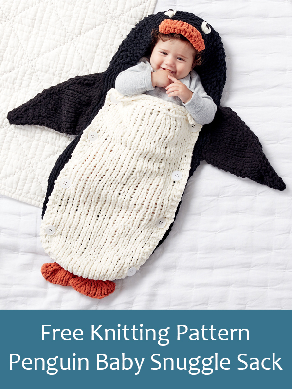 Free Knitting Pattern for Penguin Baby Snuggle Sack