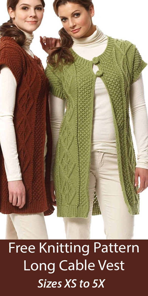 Free Vest Knitting Pattern Diamond Long Cable Vest Sizes XS to 5X