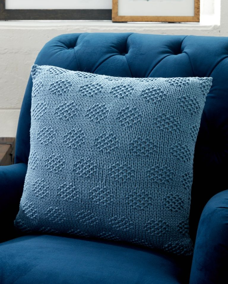 Free Knitting Pattern for Mossy Dots Pillow