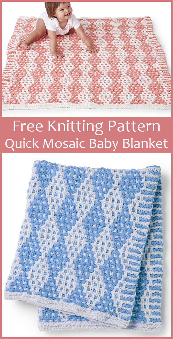 Free Knitting Pattern for Mosaic Diamond Baby Blanket