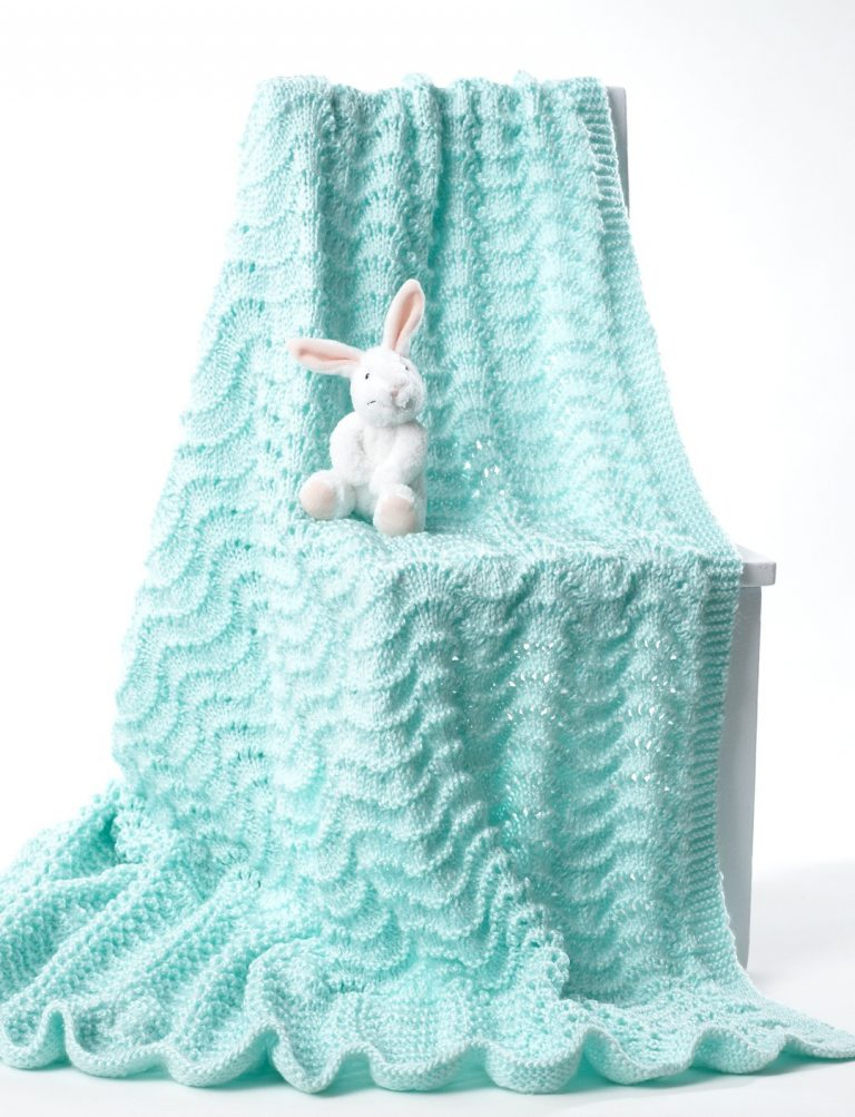 Free knitting pattern for Ripple Lace Baby Blanket