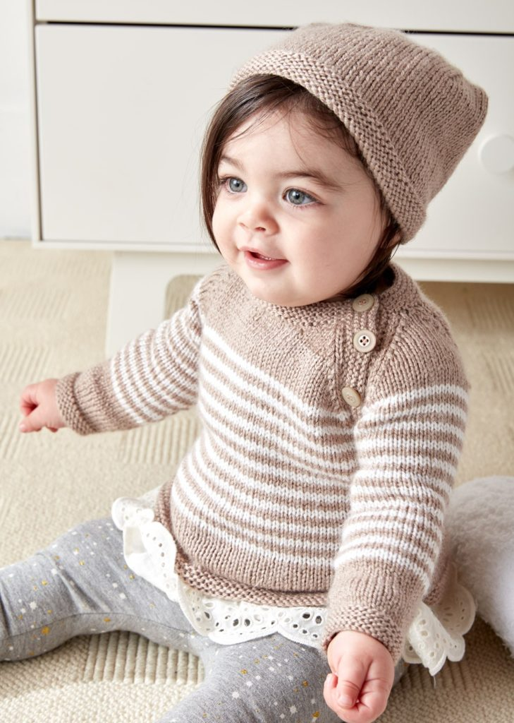 Free Knitting Pattern for Easy Wee Stripes Baby Sweater and Hat